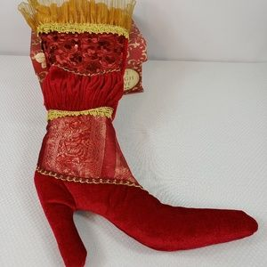 Pier1 Victorian Christmas Stocking Boot NWT